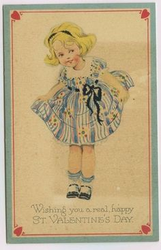 Cute Little Girl Wishing You a Real Happy Valentine's Day~Art Postcard