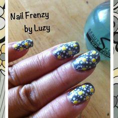 Yellow and gray nail stamp/art