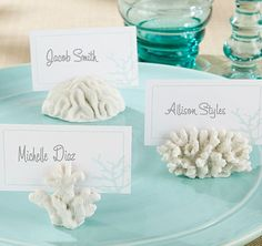 These Seven Seas Coral Place Card Holders will create a deep-sea dream on the…