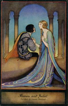 Romeo and Juliet, by Jennie Harbour, Shakespeare print (shown here in Deco Era postcard form), for Raphael Tuck & Sons, London.