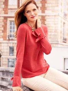 It's sweater weather and our Bow-Cuff Sweater is crafted with a hint of cashmere for exceptional warmth and softness. The relaxed but flattering fit keeps the focus on comfort, while bow-detailed flounce cuffs provide a fashionable finish. Wear it with skirts, jeans or polished work pants.   Talbots