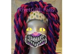 Cheshire cat inspired cosplay set: Yarnfalls and purple cyber kandi mask
