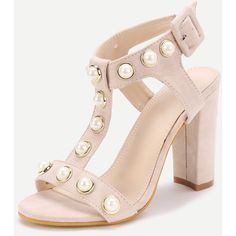Faux Pearl Detail T Strap Heeled Sandals (€2,69) ❤ liked on Polyvore featuring shoes, sandals, synthetic shoes, strappy heeled sandals, faux shoes, man made shoes and strap heel sandals