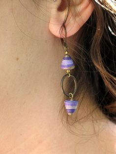 All Wound Up Earrings  purple paper beads by RockPaperJewelry, $25.00