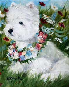 PRINT Westie West Highland Terrier Dog Puppy Art Oil Painting Spring Flowers / Mary Sparrow Smith via Etsy