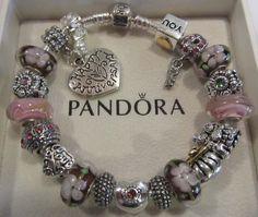 AUTHENTIC STERLING SILVER PANDORA CHARM BRACELET! PINK PLUM ~HAPPY ANNIVERSARY~ #Pandora #European