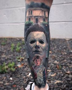 Michael Myers from Halloween movie tattoo by Paul Acker Leg Tattoos, Body Art Tattoos, Tattoos For Guys, Evil Tattoos, Pisces Tattoos, Skull Tattoos, Tatoos, Michael Myers, Paul Acker