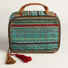 One of my favorite discoveries at WorldMarket.com: Large Green Stripe Cosmetic Pouch