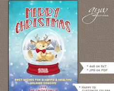 Printable Invitations & Matching Party Decor by Christmas Greeting Cards, Christmas Greetings, Printable Invitations, Printables, Snow Globes, Etsy Seller, Merry, Handmade Gifts, Seasons