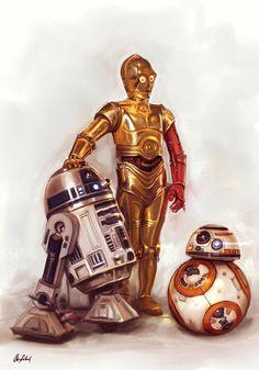 R2D2 C-3PO BB-8 by ArtofOkan.deviantart.com on @DeviantArt
