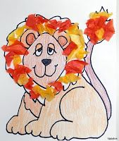Leeuw bekleven met stukjes wol