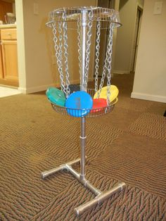 DIY Portable Mini Disc Golf Basket (all folds up for easy storage)