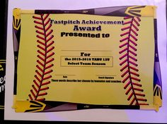 softball awards certificates