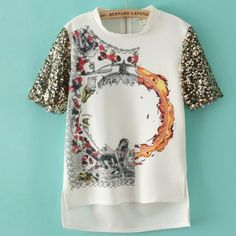 Fashion O Neck Sequins Short Sleeve Personalized T Shirts