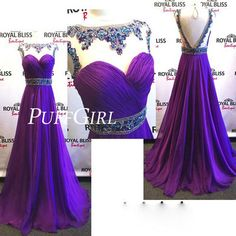 Purple Beaded Illusion Chiffon Prom Dress With V Back · puffgirl · Online Store Powered by Storenvy