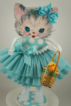 Darling Easter Kitty Decoration by SparkleLovesWhimsey on Etsy, $22.00