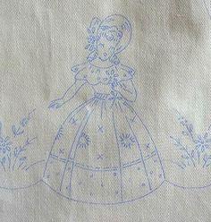Vintage-Wonder-Art-CRINOLINE-LADY-6pc-Set-Uncut-Stamped-for-EMBROIDERY
