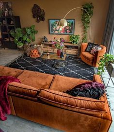 Orange Couch, Home Living Room, Apartment Living, Living Room Decor, Apartment Therapy, Indie Living Room, Apartment Couch, Decor Room, Warm Home Decor