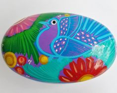 Mexican Folk Art Brightly  Painted Oval Terra Cotta Lidded Bowl