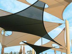 shading for above trellis / pergola Fabric Structure, Roof Structure, Shade Structure, Pool Shade, Patio Shade, Bamboo Architecture, Architecture Design, Urban Landscape, Landscape Design
