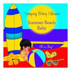 Summer Baby Shower Boy Beach Baby Surfing Baby 5.25x5.25 Square Paper Invitation Card