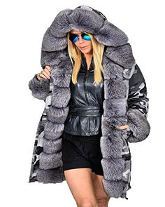 Roiii Women Winter Camouflage Thick Gray Fur Parka Long Hooded Jacket Coat 16 GrayTag sizeXXXL *** Click image to review more details.