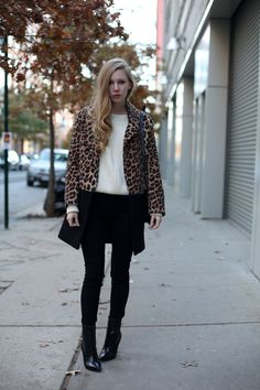 Fall in New York: Carolina Engman pairs her Photo Ready Maria in Impression with a leopard coat.