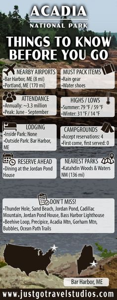 National Park Itinerary Acadia National Park [Infographic] Our Acadia National Park Itinerary will help you out with planning your vacation! We include the best Acadia National Park hikes, Acadia maps, a packing list and other great information about what Maine Road Trip, East Coast Road Trip, National Parks Map, Parc National, Acadia National Park Camping, Acadia Camping, Acadia Maine, New England Travel, To Infinity And Beyond
