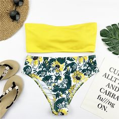 Sexy Bandeau Bikini Set Women Floral Print Swimwear Push Up Swimsuit Brazilian Biquini Pink Bikinis Pad Beachwear Push Up Swimsuit, Bandeau Bikini Set, Pink Bikini, Bikini Swimwear, Two Piece Swimsuits, Women Swimsuits, Black N Yellow, Blue And White, Brazilian Bikini