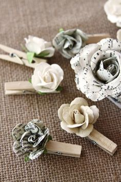 Handmade Antique Style Clothes Pins Mini Paper by Summertimedesign, $12.95