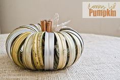 Adorable Canning Lid Pumpkin with cinnamon stick stem from Simply Klassic Home!