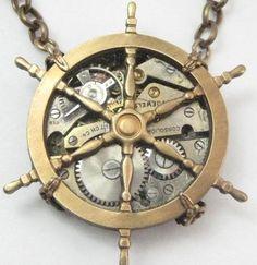 maritime steampunk necklace, steampunk, maritime, steampunk, steam punk.