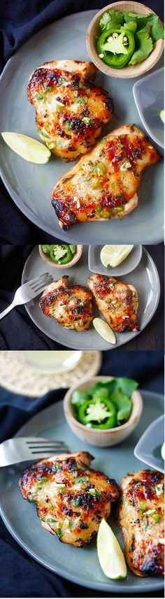 Chipotle Lime Chicken – Ridiculously delicious and juicy grilled chicken recipe with chipotle chili, lime juice, garlic and cilantro!