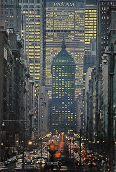 The Pan Am Building created a canyon effect in the Avenue. Evening view of Park Avenue looking south from 72nd Street. 1964. Photo: National Geographic Magazine.