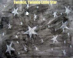 Twinkle Twinkle Little Star Craft - Artsy Momma,  quick and easy craft for littles. Use crayon+paints for unlimited ideas!