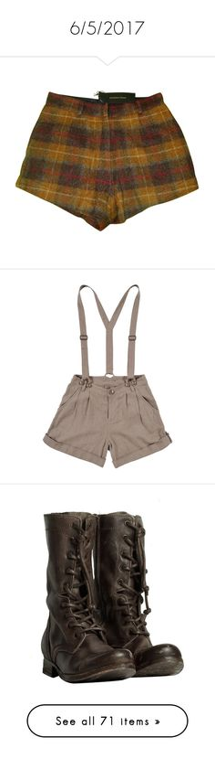 """""""6/5/2017"""" by symba-goes-rawr ❤ liked on Polyvore featuring shorts, bottoms, short, wool shorts, short shorts, madame a paris, brown short shorts, brown shorts, pants and women"""