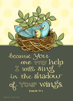 Shadow of His Wings Psalm 37 Scripture Inspirational Art Print. $14.00, via Etsy. Karla Dornacher
