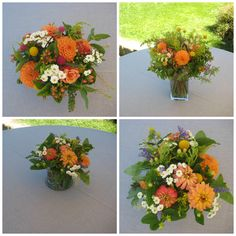I like these flowers and the oranges for the bridal bouquet June Events, Happy Flowers, Rehearsal Dinners, Wedding Flowers, Floral Wreath, Bouquet, Wreaths, Table Decorations, Bridal
