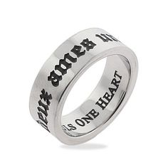 Two Souls One Heart Stainless Steel Poesy Ring