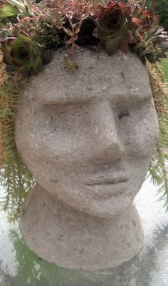 Hypertufa head planter for succulents and sedums. Looks great in the garden.