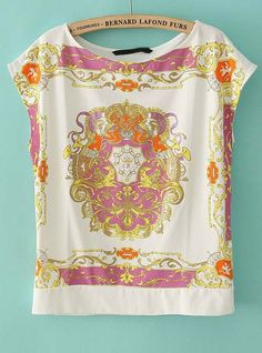 White Short Sleeve Palace Totem Print T-Shirt - Sheinside.com