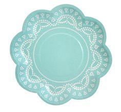 Paper Plates - Aqua Scallop Lace  10 x $7.50