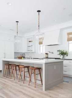 9 Best Trends in Kitchen Design Ideas for 2018 [No. 7 Very Nice] kitchen design . 9 Best Trends in Kitchen Design Ideas for 2018 [No. 7 Very Nice] kitchen design layout ideas with island, modern, small, traditional, layout floor plans Neutral Kitchen Cabinets, Kitchen Cabinet Colors, White Cabinets, Neutral Kitchen Colors, White Counters, Neutral Paint, Kitchen Cabinets Island, Different Color Kitchen Cabinets, Scandinavian Kitchen Cabinets