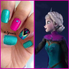 Frozen Nails Disney nails thats interesting Nails For Kids, Girls Nails, Fun Nails, Disney Nail Designs, Cute Nail Designs, Frozen Nail Designs, Uñas Frozen Disney, Elsa Frozen, Frozen Nail Art