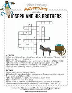 Joseph And His Brothers Crossword Puzzle Family