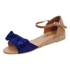 sandales très légèrement compensées, avec noeud décoratif et fermeture lanière et boucle à la cheville