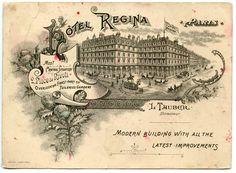 cartão comercial do Hotel Regina, Paris, 1900