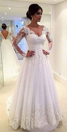 Find More Wedding Dresses Information about Arabic Sexy Long Sleeve Wedding Dress Open Back Sweep Train With Appliques Robes De Mariage 2016 Princess Wedding Gowns,High Quality dresses for garden wedding,China dress wedding korea Suppliers, Cheap wedding dresses with color trim from Fan Lan on Aliexpress.com