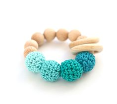 Teething Toy Wooden Rattle With Crochet Wooden Beads And 2 Wooden
