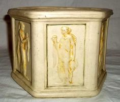 RARE Weller Pottery Clinton Ivory Jardiniere Hexagon with Bas Relief Maidens Weller Pottery, Decorative Boxes, Ivory, Ebay, Home Decor, Homemade Home Decor, Decoration Home, Room Decor, Interior Design